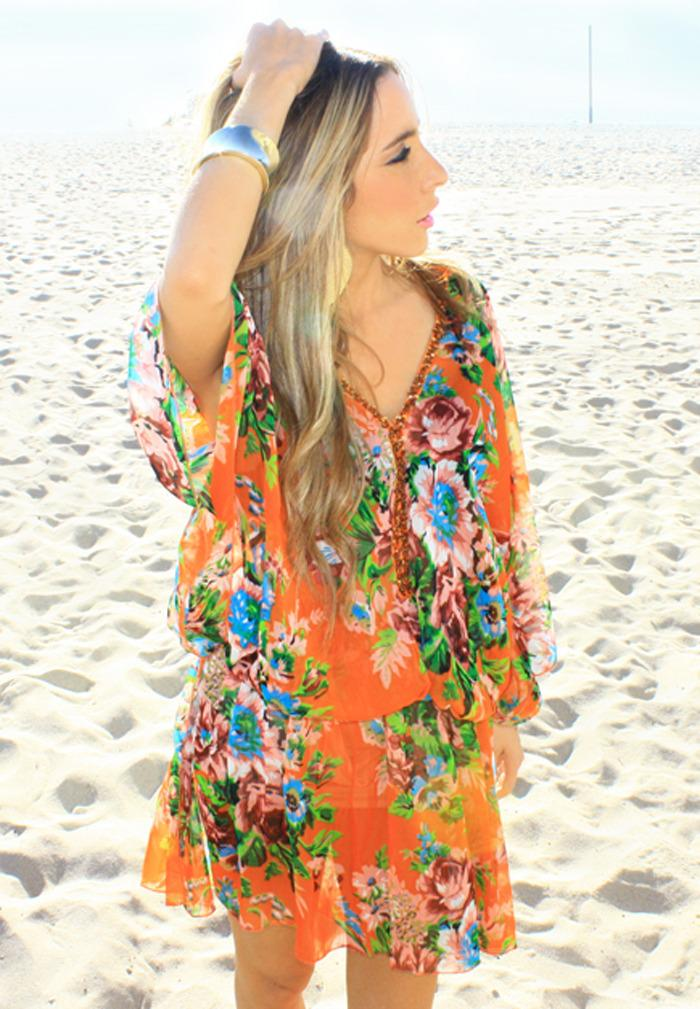 FLOWER TUNIC - Orange