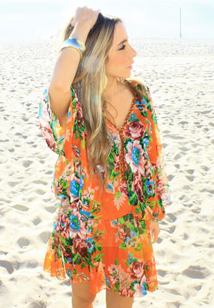 FLOWER TUNIC - Orange - Haute & Rebellious