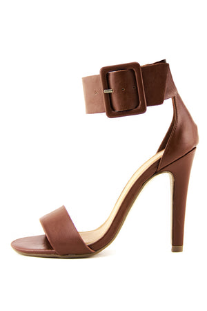 YULIA ANKLE STRAP HIGH HEEL SANDAL - Brown - Haute & Rebellious