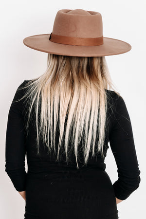 Suede Flat Brim Hat with Brown SlimTrim - Brown