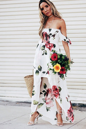 Make Nice Off-Shoulder Floral Midi - Haute & Rebellious