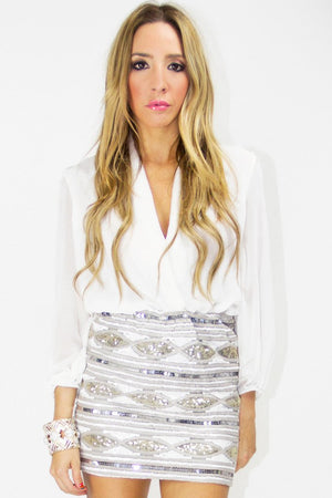 GISELE SEQUIN SKIRT - Silver - Haute & Rebellious