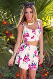 FLORAL PRINT HIGH WAISTED A-LINE SKIRT