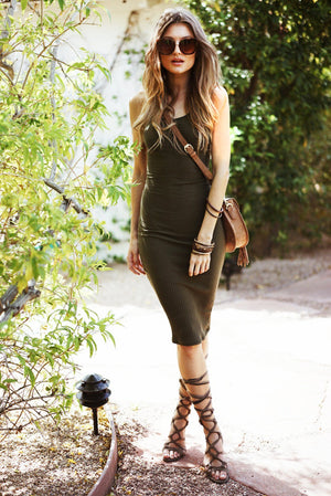 Camie Ribbed Midi Dress /// ONLY 1-M LEFT/// - Haute & Rebellious
