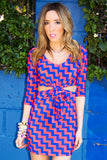 PRINT CUTOUT DRESS - Orange & Blue