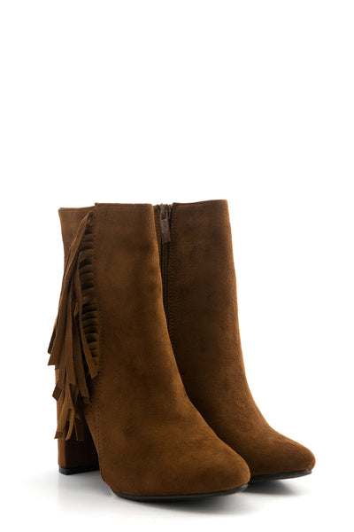 Suede Fringe Ankle Boot - Brown
