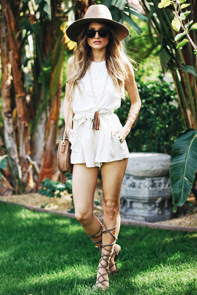 Safari Front-Tie Linen Shorts