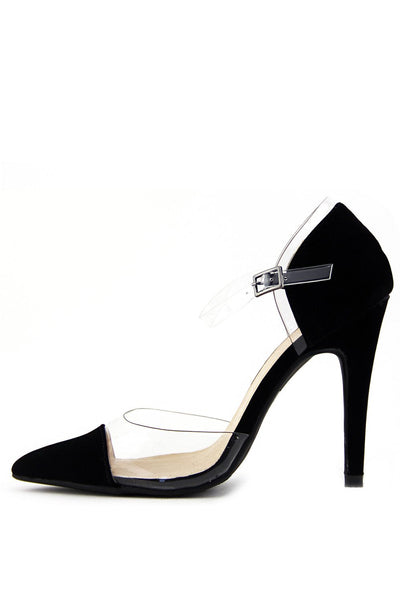 CLEAR CONTRAST POINTY HIGH HEEL PUMP