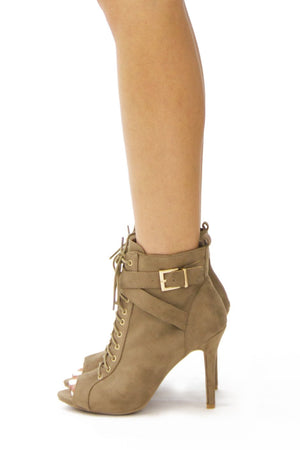 BERK SUEDE ANKLE BOOTIE - Taupe - Haute & Rebellious