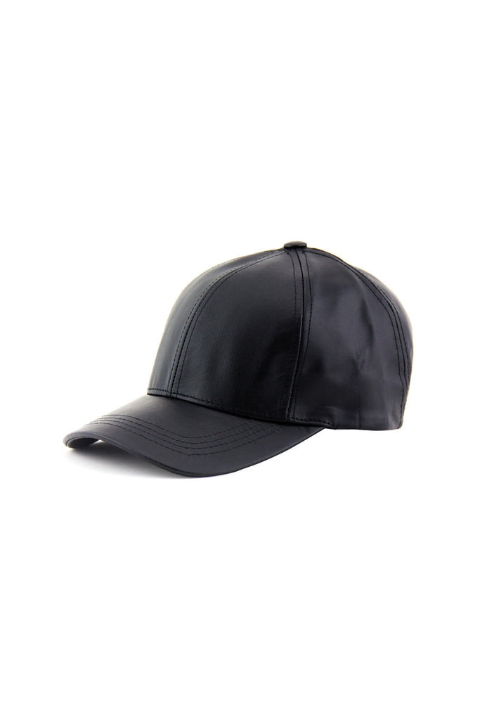 GENUINE LEATHER CAP - Black