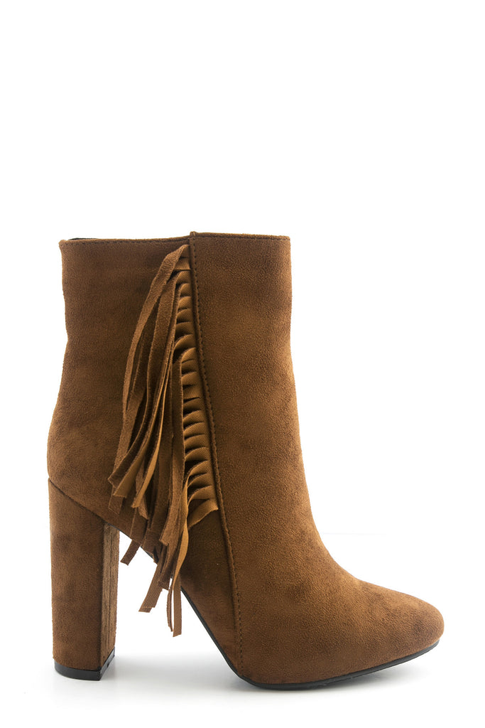 Salma Suede Fringe Bootie - Brown