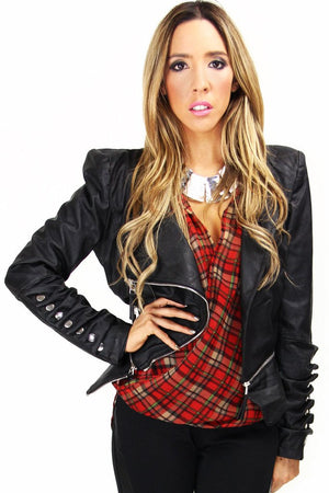 CITY LEATHER JACKET WITH POINTY SHOULDERS - Black - Haute & Rebellious
