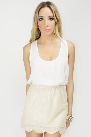 SCALLOP SEQUIN SKIRT - Beige - Haute & Rebellious