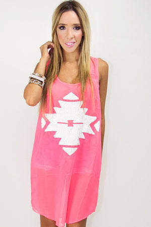 ELECTRIC CORAL TRIBAL TUNIC - Haute & Rebellious