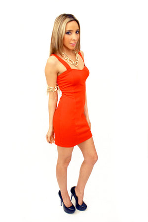 RED CUTOUT BODYCON DRESS - Haute & Rebellious
