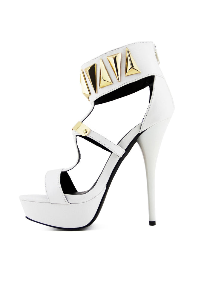FARAH TRIANGLE PLATED HEEL - White