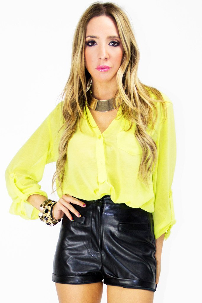 3/4 SLEEVE CHIFFON BLOUSE - Neon Lemon - Haute & Rebellious