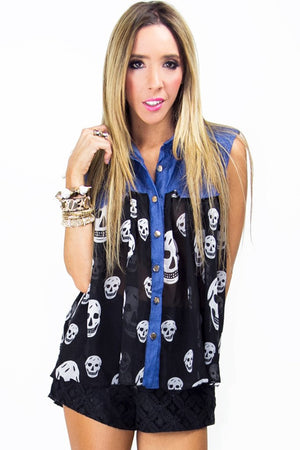 DENIM CHIFFON SKULL BLOUSE (Final Sale) - Haute & Rebellious