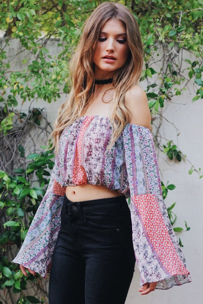 Maroccan Bell-Sleeve Crop Top