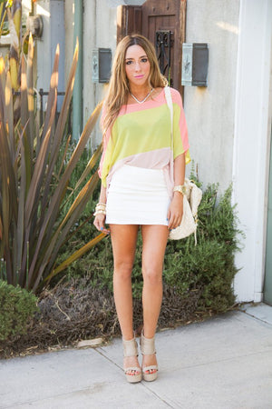 COLOR BLOCK CHIFFON BLOUSE - Lime/Peach - Haute & Rebellious