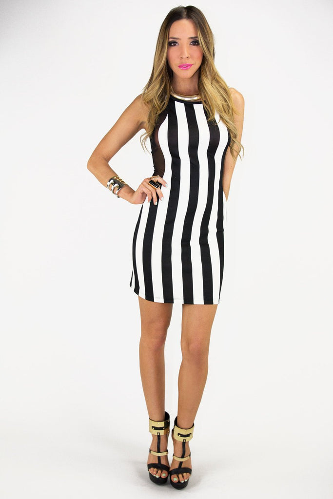 Black & White Stripe Bodycon Dress