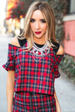 CADEN PLAID ZIPPER CUTOUT TOP