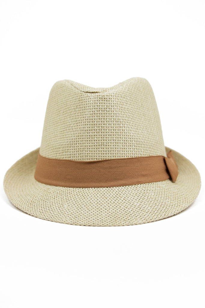 STRAW FEDORA HAT WITH COLORED BAND - Camel