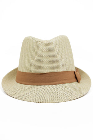 STRAW FEDORA HAT WITH COLORED BAND - Camel - Haute & Rebellious