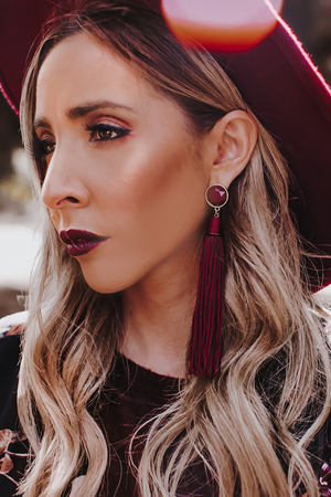 Long Tassel Earrings - Maroon