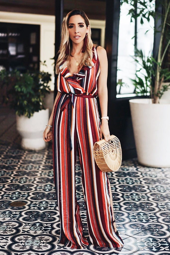 Striped Jumpsuit with Ruffles