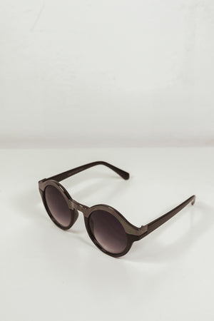 TINA CIRCLE FRAME SUNGLASSES - Black