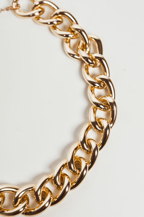Gold Metal Chain Link Necklace