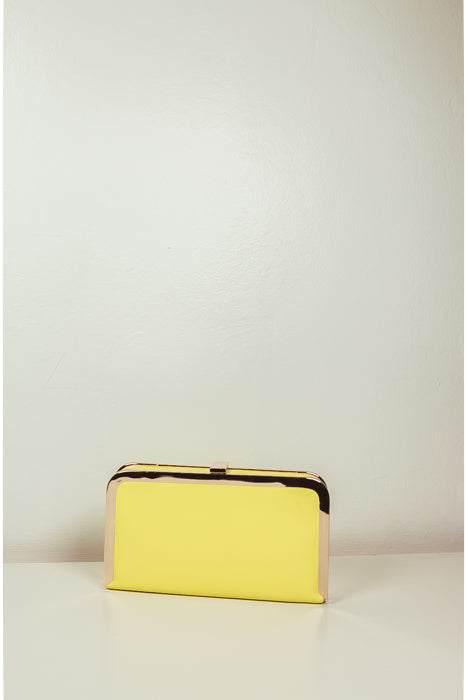 Small Clutch with Gold Trim - Yellow