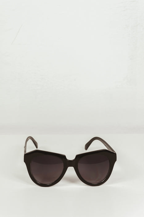 Square Plastic Frame Sunglasses - Black