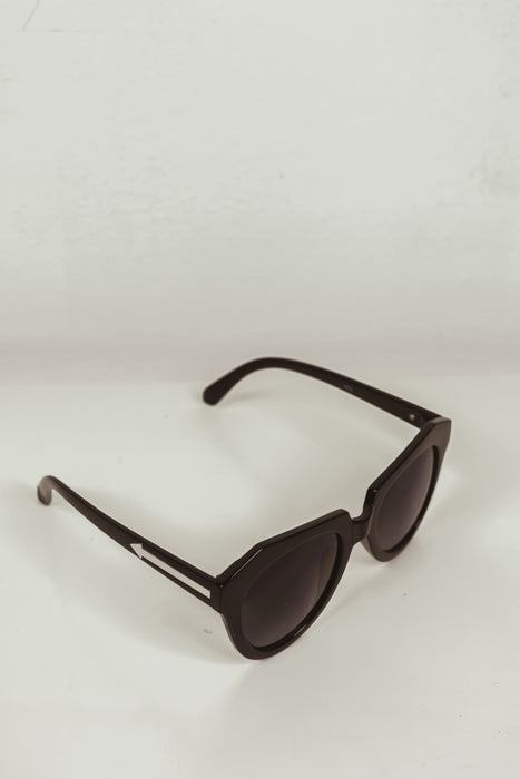 SQUARE CAT EYE SUNGLASSES - Black