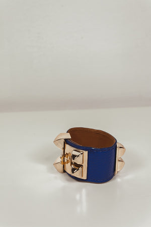 Double Buckle Leather Bracelet - Blue