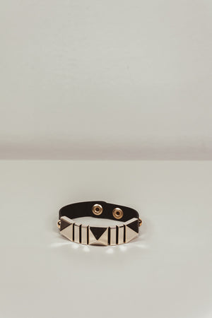 Gold Metal Stud & Leather Bracelet - Black