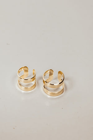 Dual Cutout Plated Rings - Gold