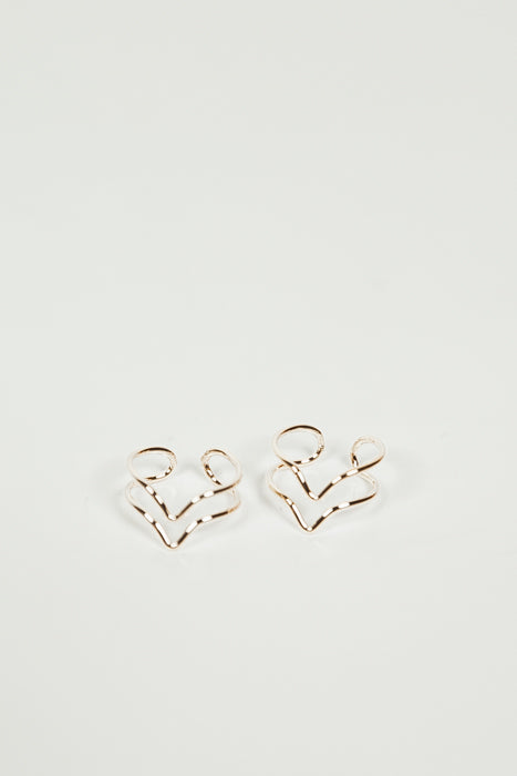 Petite Cutout Ring Set - Gold