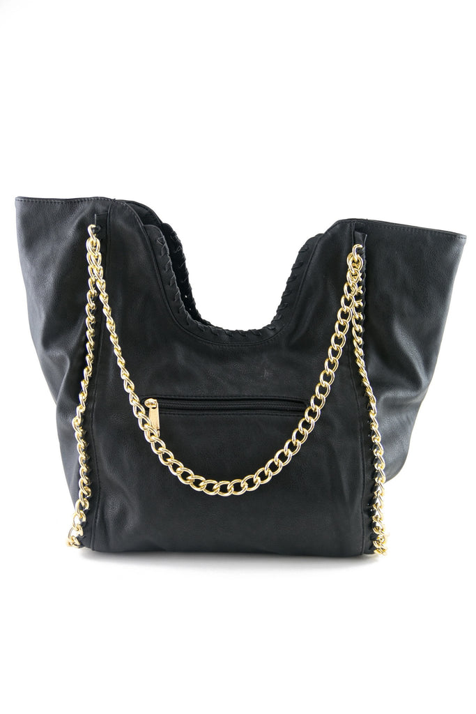 DONA LARGE HANDLE CHAINED TOTE - BLACK