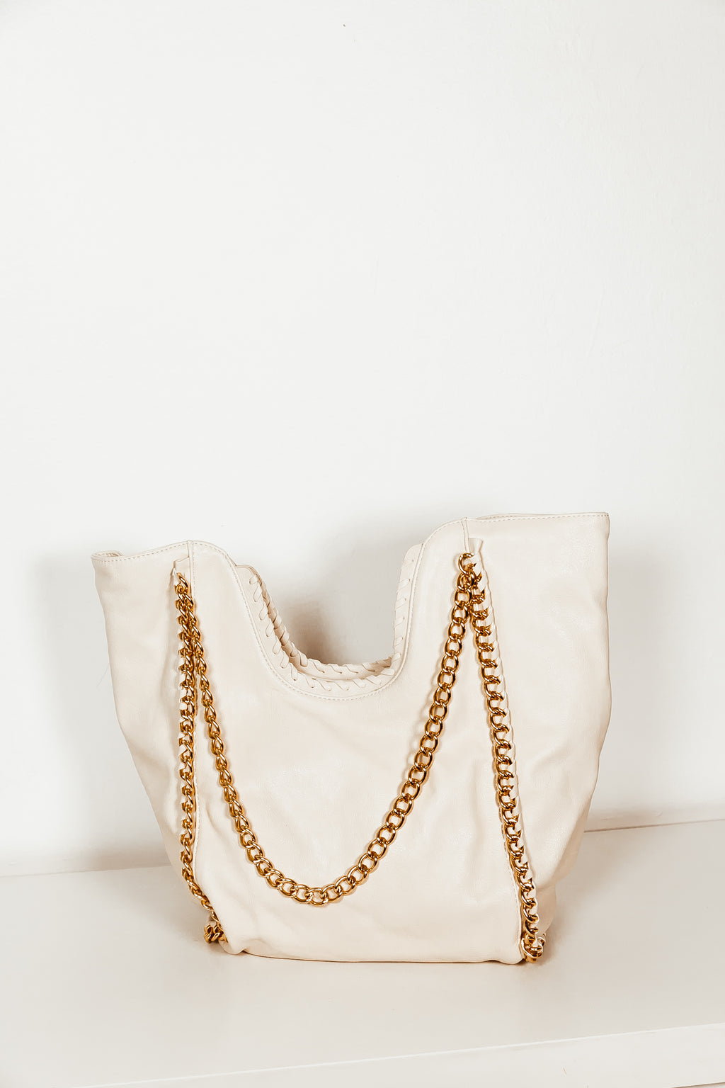 Metal Chain Handle Large Tote - Cream