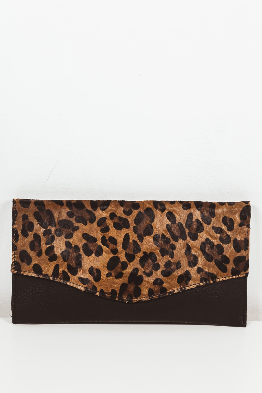 Leopard Fur Flap Clutch