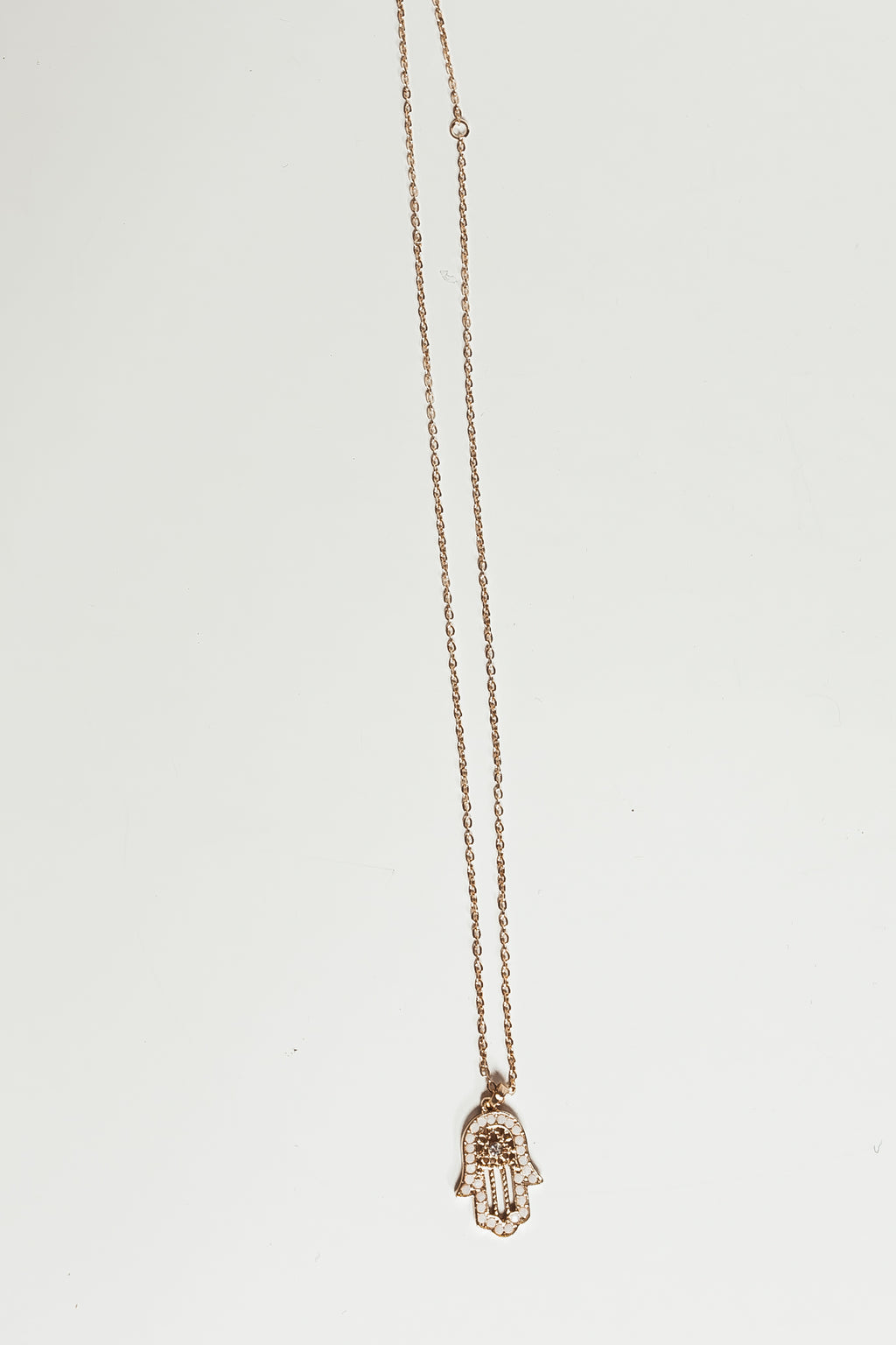 Petite Crystal Hand Pendant Necklace - White