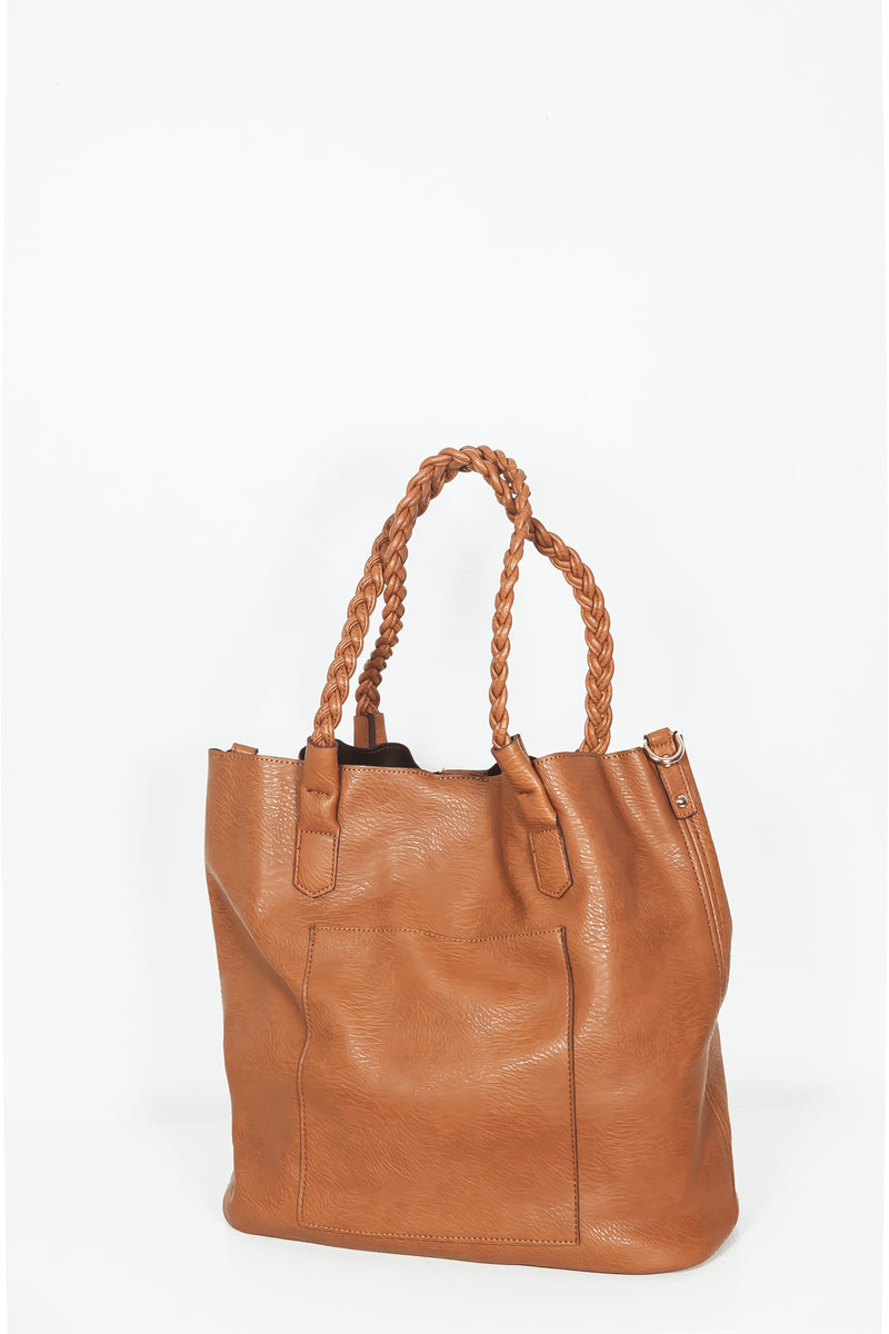 Leather Shopping Bag - Brown
