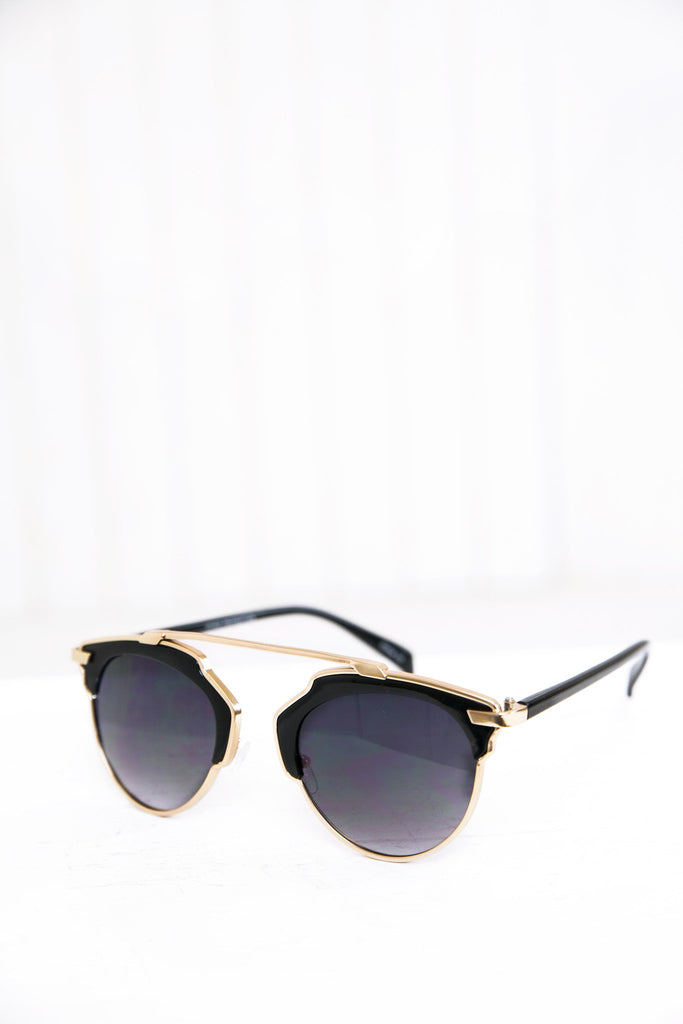 Alise Aviator Shades - Black/Gold