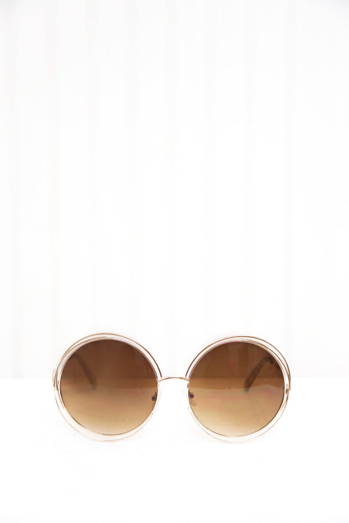 Disco Babe Round Shades - Gold/Brown