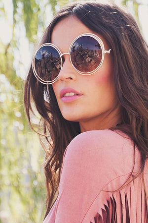 Disco Babe Round Shades - Gold/Brown - Haute & Rebellious