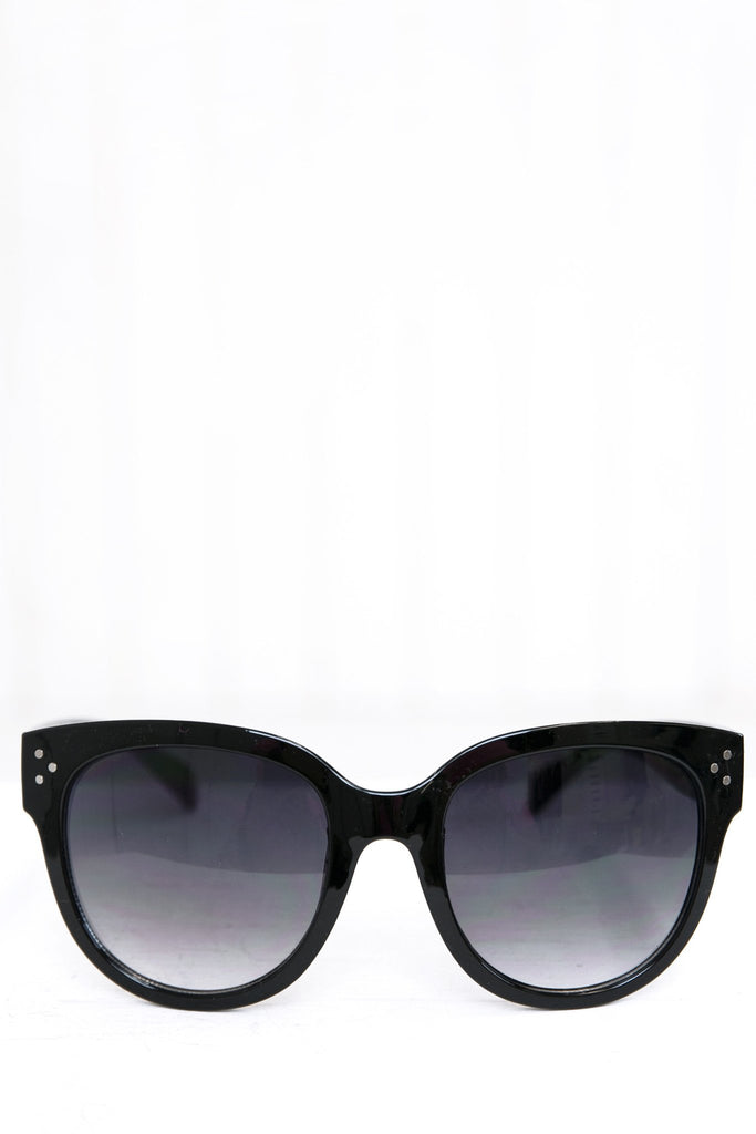Audrey Round Sunglasses - Black/Blue