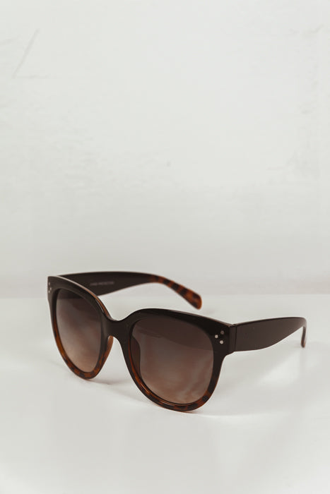 Audrey Round Sunglasses - Black/Brown