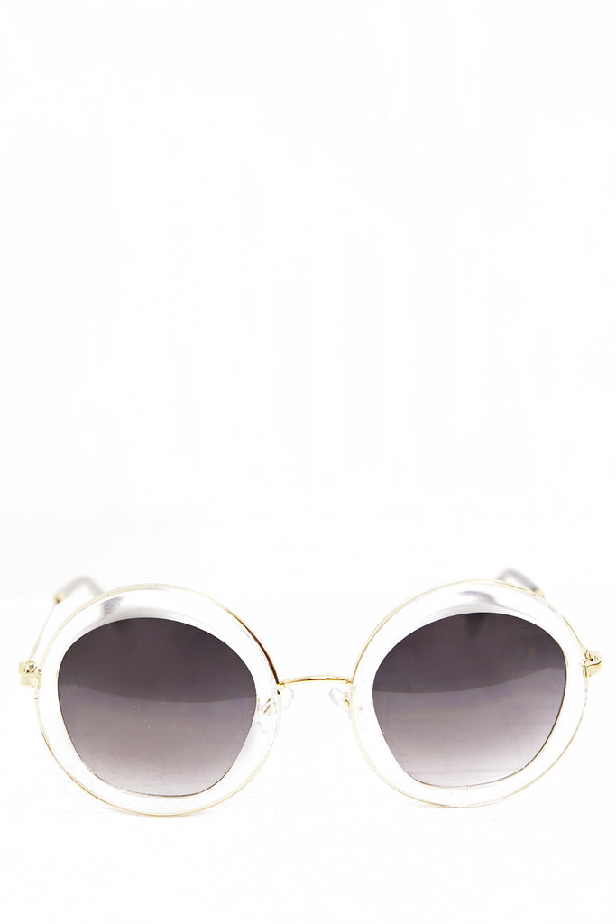 Gia Circle Shades - Clear/Gold